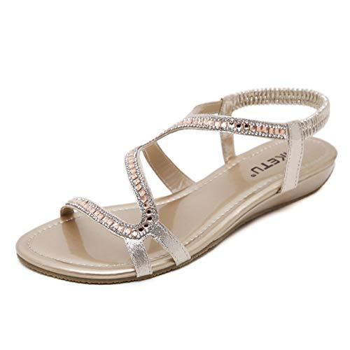 YAOkxin Frauen Flache Sandalen, große Sommer Outdoor Strand Schuhe bequem zu Fuß elastische Riemchen Rutschen Sandalen, geeignet für den täglichen Gebrauch, zu Hause, Urlaub,Apricot,35