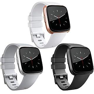 AK Armband Für Fitbit Versa 3-Pack, Classic Weiches TPU Sports Ersatzarmband Verstellbares Zubehör Uhrenarmband für Fitbit Versa (3-Pack Schwarz+Weiß+Grau, Large)
