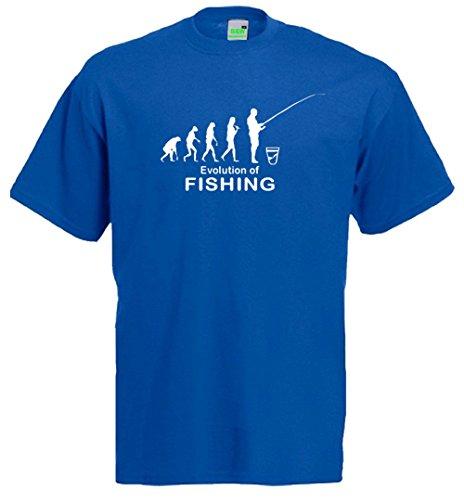 Evolution of Fishing T-Shirt   Angel-Sport Verein Angeln Fischen Fischer   Premiumshirt von Bimaxx® Royalblau