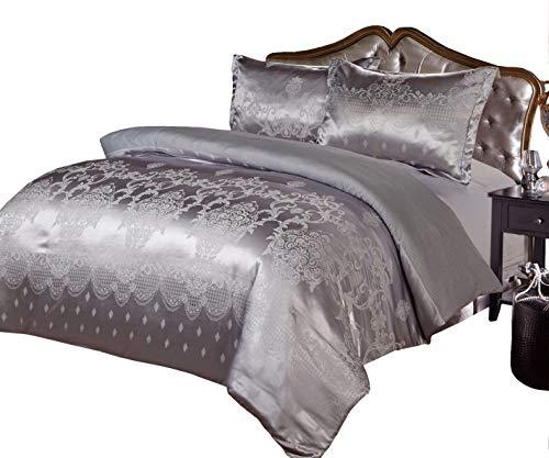 Imperial Zimmer Luxus wunderschöne 4 Stück Satin Jacquard glamourösen Bettwäsche Set Bettdecke deckt Bettdecke Set (King/Grau) gehören 2 Kissenbezüge + 1 flache Laken & bestickt Stil Quilt Cover... (Satin-kissenbezug Deckt)