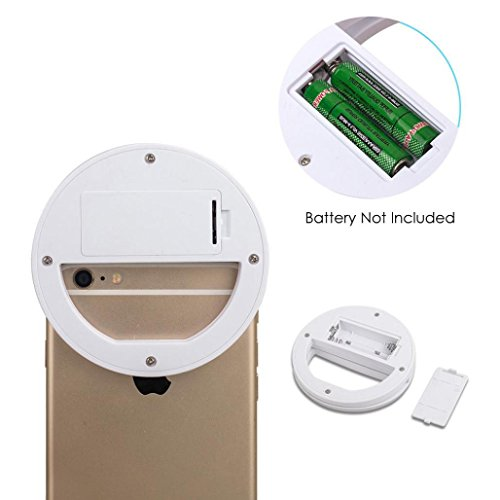 squarex Portable Selfie 36 LED Ring Flash Fill Light Clip Camera For iPhone Mobile Phone  White