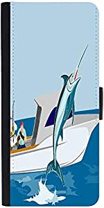 Snoogg Blue Marlin Fish Jumping Retro Designer Protective Phone Flip Case Cover For Lenovo Vibe S1