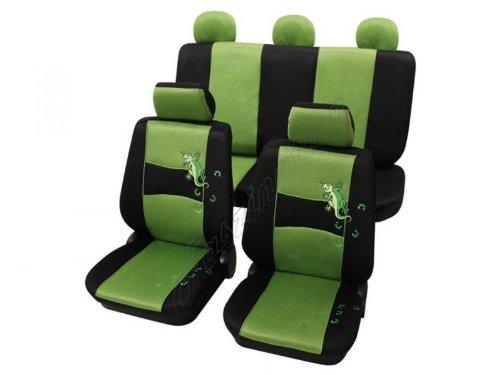 Coprisedili per auto, set completo, Peugeot, 106 ohne Seitenairbag, 205, 206/206+ da 4/2009, 207, 306, 309, 406, 4007 ,verde nero