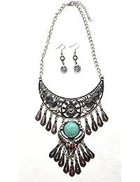 Katzzo Non-Precious Blue Stone Metal Oxidised Silver Fashion Necklace Set With Earings For Women/ Girls