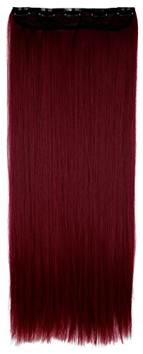Extension clip capelli lunghi lisci fascia unica one piece 3/4 full head larga 25cm lunga 65cm vari colori, marrone mix rosso