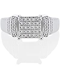 Silver Dew 925 Pure Silver White Gold Plated CZ Diamond Fancy Ring For Women