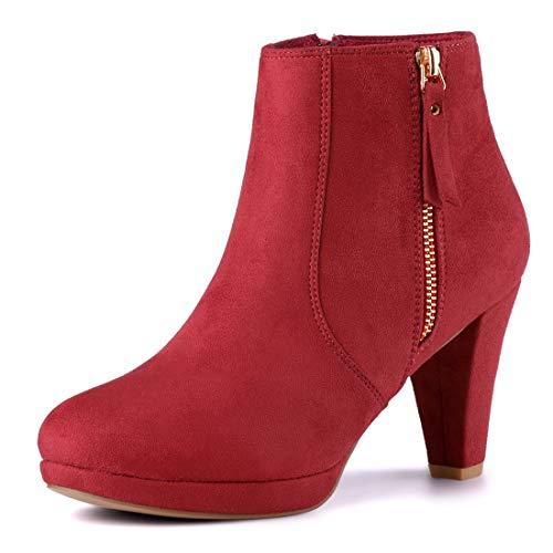 Allegra K Wildleder Westernabsatz Reißverschluss High Heels Plateau Stiefel Damen Mit Absatz Rot 41 EU/Etikettengröße 9.5 US