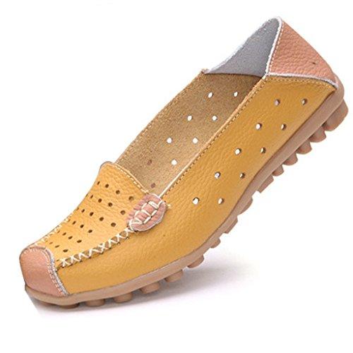 Minetom Donne Moda Loafer Scarpe Hollow Mocassino Pantofole Tallone Piano Estate Scarpe Giallo 40