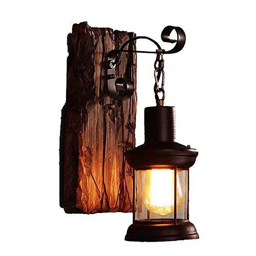 LATIG Industrielle Wind Bar Restaurant Persönlichkeit Schlafzimmer Nacht Vintage Schmiedeeisen Boot Holz tot Baum Farbe Holz alte Wandleuchte - Holz-boot-bäume