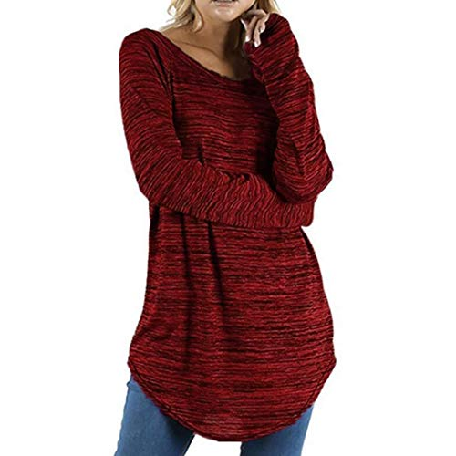 Lazzboy Womens Tops Blouse Shirt Long Sleeve O Neck Colourful Cotton Basic Pullover Plus Size, S-5XL(5XL(22),Wine)