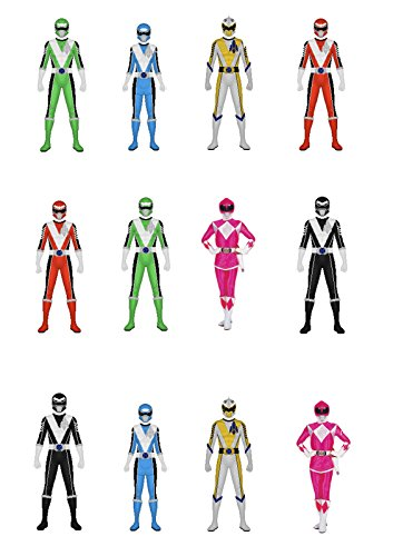 Image of 12 Stand Up Power Rangers Edible Premium Wafer Paper Cake Toppers