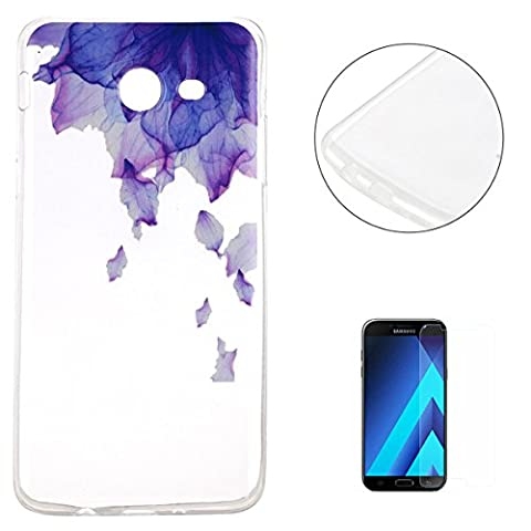 Samsung Galaxy J3 2017/J320 Silicone Case Clear [with Free Screen Protector],KaseHom Unique Stylish Printed Pattern Design Slim-Fit [Shockproof] TPU Rubber Bumper Cover [Scratch Resistant] Transparent Soft Jelly Protective Skin Shell for Samsung Galaxy J3 2017/J320 - Flower Purple
