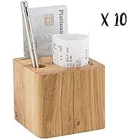 Lote de 10porte-addition madera modelo Cube (bolígrafo incluido)–7