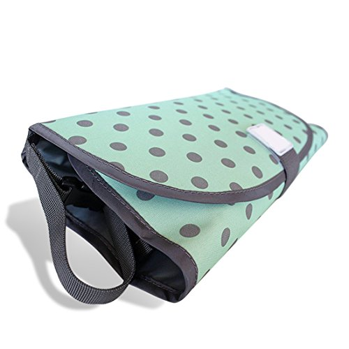 Preisvergleich Produktbild SODIAL Gruene Welle Punkt 3 in 1 tragbare Falten Baby Windel Pad Baby Urin Pflege Pad