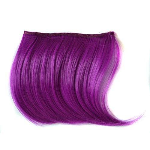 Bunt Pony  Haarteile Haarverlängerung  sunnymi Perücken Haarteile Haar Extension (Lila) (Lila Echthaar Extensions)