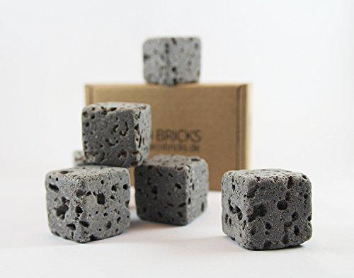 Eco Bricks - 6 wasserreinigende Aquarium Deko Steine - 100% Vulkangestein -