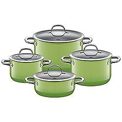 Silit Passion Green Topfset 4-teilig mit Glasdeckel, Silargan Funktionskeramik, Schüttrand, induktionsgeeignet, spülmaschinengeeignet, grün