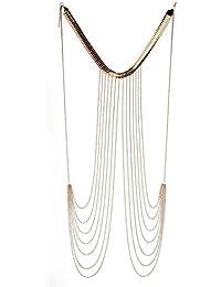 Collar Arnés Atractivo De La Playa De La Moda Del Bikini Cadena De Joyería Del Cuerpo De La Cintura De Oro