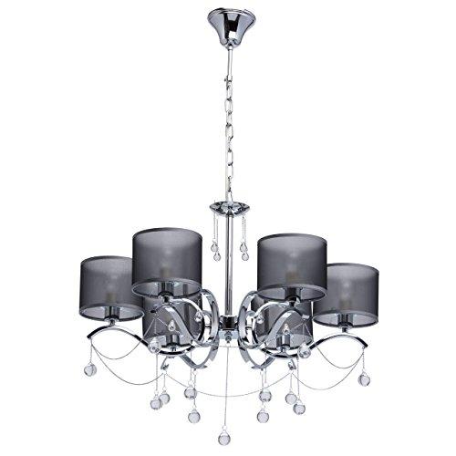 MW-Light 379019006 Jugendstil Kronleuchter Modern Chrom Metall Silber mit Kristall Klar Grau Textilschirme 6 Flammig x 40W E14 -
