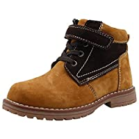 Apakowa Boys Leather Lace Up Ankle Boots Childrens Biker Style Zip Shoes Toddler Little Kids Hiking Travelling Camping Cilmbing Classic Boots