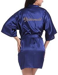 3c2ad34dcf Hibote Wedding Bridesmaid Robe Short Kimono Robe Night Robe Bath Robe  Fashion Dressing Gown for Women