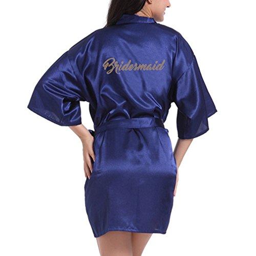 Yying Matin Robe Soirée Mariage Robes de Demoiselle Honneur Satin Robe de Soirée de Mariée Robe de Chambre Paillettes Robe de Chambre Kimono