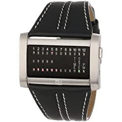 01TheOne Men's IRH102RB1 Ibiza Ride Wide Rectangle Black Leather Watch