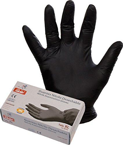 Faher - Guante Desechable Nitrilo Negro Sin Polvo