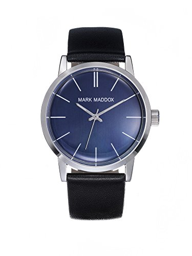 Mark Maddox Men's Quartz Watch with Blue Dial Analogue Display and Black PU Strap HC3009-36