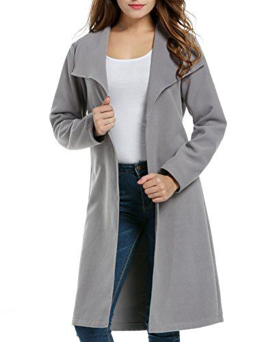 Meaneor Damen Wollmantel Winter Mantel Revers Coat Lang und Kurz