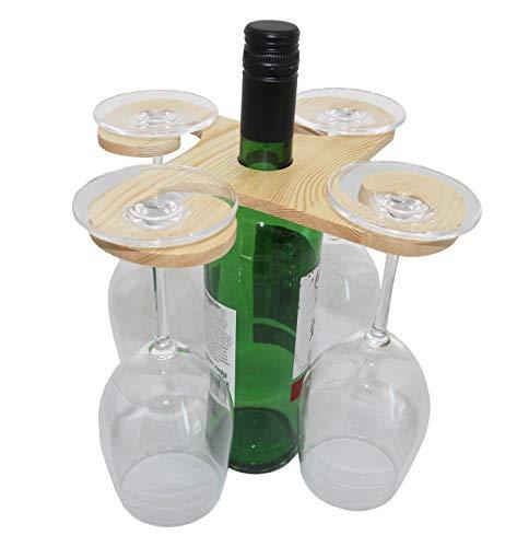 rukauf Weinflaschen und Gläserhalter aus Holz für 4 Gläser - Wein-Buttler Wine-Caddy Wein-Glas-Aufhänger Weinglas-Halter (Holz-wein Glas-halter Und)