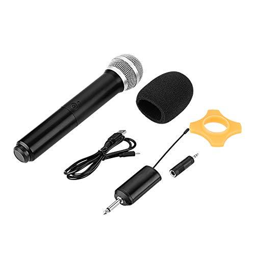 Eboxer Microfono palmare wireless ricaricabile UHF con mini ricevitore per Karaoke/Business Meeting Compatibile con Smart TV, Computer Audio, Amplificatore DVD, ecc.