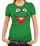 Karneval Fasching Verkleidung Damen T-Shirt Gruppen & Paar Frosch Kostüm, Größe: L,Kelly Green