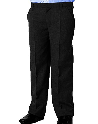 Dalsa New Boys Sturdy Stocky Fit Plus Size School Trousers Grey Black Generous Fit Sizes Regular/Standard Leg