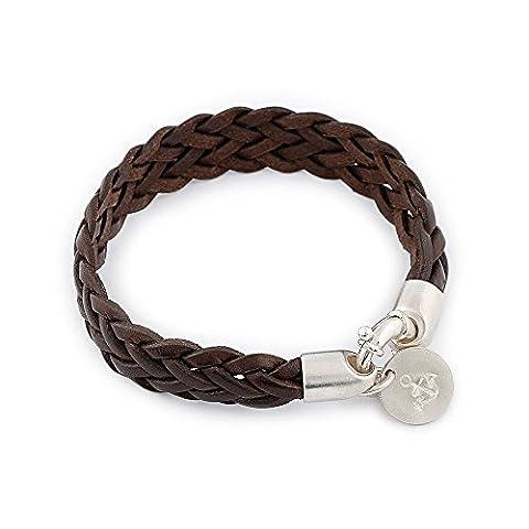 Kuestensilber Herren-Armband Lederarmband, geflochten Rindsleder 925 Sterling Silber Stempel 20.00 cm - (Männerschmuck Armband)