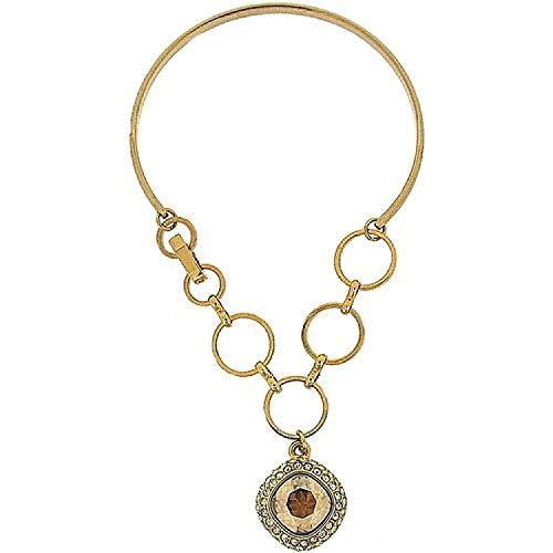 FJ1120 - PARK LANE Goldfarbenes Armband/Armspange mit champagnerfarbenem Kristallamulett