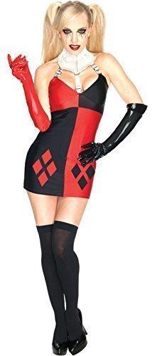 Damen Offiziell Lizenziert Sexy Harley Quinn Batman Superhero Villain Halloween Kostüm Outfit UK 6-18 - Rot - Rot, Damen, 44-46, Rot