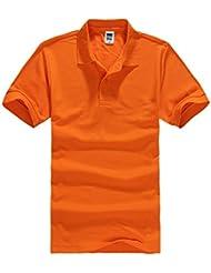 Color Sólido del Polo de Manga Corta Camisa para Hombre y Mujer Naranja 3XL