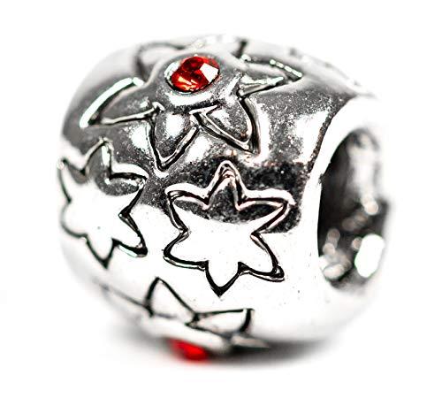 Beads Charms Schmuck Glasperlen Anhänger Unisex Zwischen-Element Sterne Strass Rot Glücksbringer Motiv