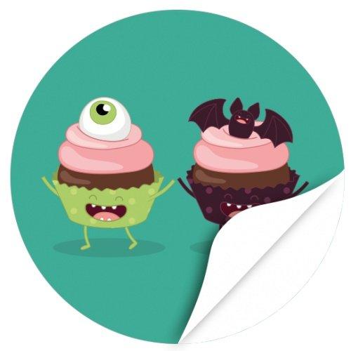 /Aufkleber/Sticker/48 Stück/Monster Cupcakes zum Kleben/Dekorieren/Selbstklebend/Rund, 4cm ()