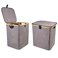 Encozy Sturdy Laundry Hamper,Waterproof Bamboo Foldable Laundry Storage Baskets Clothes Hamper with lid (44.5cm High, Dark Gray)