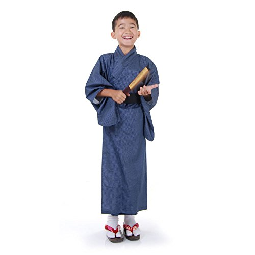 (Japaner Jungen Yukata Kimono Obi Samurai Kinder Fasching Karneval Kostüm Blau)