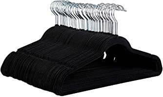 Zober Non-Slip Velvet Hangers - Suit Hangers (50-pack) Ultra Thin Space Saving 360 Degree Swivel Hook Strong and Durable...