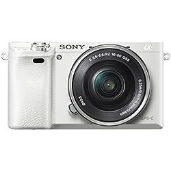 Sony Alpha 6000 Systemkamera (24 Megapixel, 7,6 cm (3 Zoll) LCD Display, Exmor APS-C Sensor, Full HD, High Speed Hybrid AF) weiß Sony Alpha