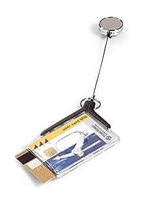 Durable 830858 Card Holder Deluxe Porte-carte de Sécurité 2 Cartes Format 54 x 86 mm avec Enrouleur Chromé Cordon 80 cm Boîte de 10