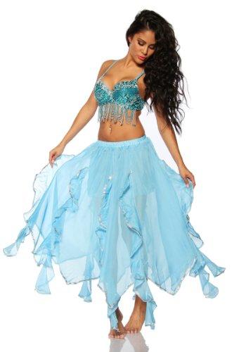 Kostüm Pailletten Tanz Mit - Bauchtanz Outfit BH und Rock orientalisches Tanz Kostüm mit Pailletten (türkis)
