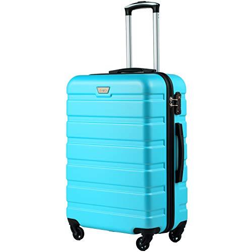 COOLIFE Hartschalen-Koffer Trolley Rollkoffer Reisekoffer mit TSA-Schloss und 4 Rollen (Himmel blau, Handgepäck)