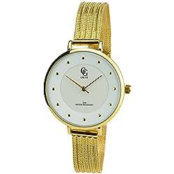 GG LUXE -Damen Armbanduhr Silber Quarz Stahlgehäuse Analog Anzeige Stahl Armband Gold