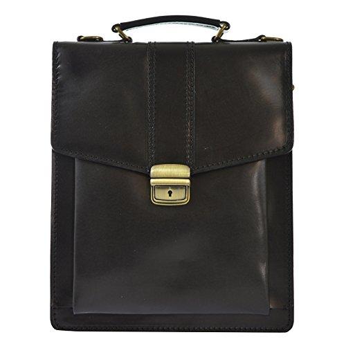 CTM Sac d'affaires, la mallette de l'homme avec bandoulière, cuir made in Italy D7012 - 27x32x10 Cm