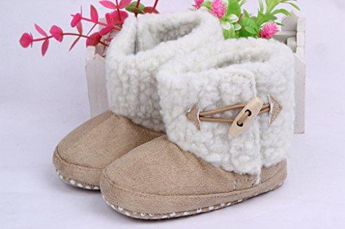 Bigood Süße Winter Krabbelschuhe Baby-Mädchen Einfarbig Lauflernschuhe 13 Hellblau Braun